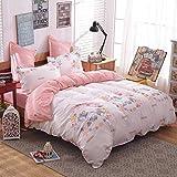Girls Magic Unicorn Bed Set by KMZ [4pcs Full size bedding 70''x86''- Flat sheet,duvet cover,2 pillow cases.No Comforter] pink princess worthy theme, Quality Microfiber,Soft,No chemicals,100% kids safe