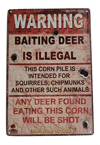 Warning No Trespassing Funny Tin Sign Bar Pub Garage Home Art Wall Decor Poster (BAITING DEER IS ILLEGAL)