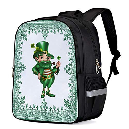 Irish St. Patrick's Day Students Backpack for School Bookbag Casual Shoulder Daypack Travel Back Pack Bags for Teen Boys Girls, Leprechaun Costume Men -