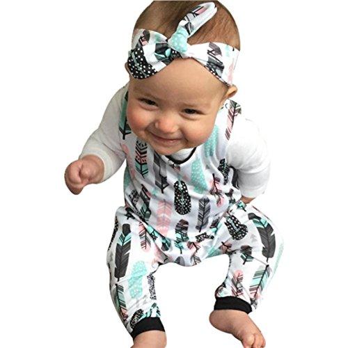 Omiky® Kleinkind Säugling Baby Mädchen Feder Strampler Overall Stirnband Outfit Sonnenanzug Set Weiß