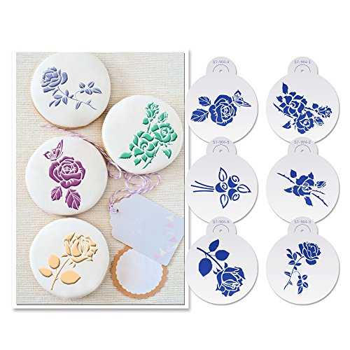 Wedding Cake Cookie - ART Kitchenware 6pcs Roses Cookie Stencils Set for Wedding Cake Stencils Valentine's Day Plastic Stencils for Airbrush Decoration Mold 4.53