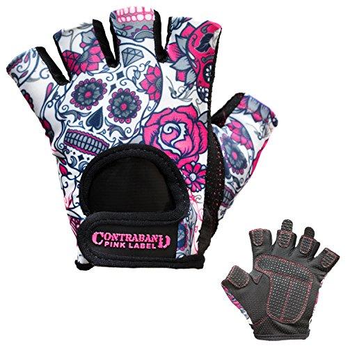 Contraband Pink Label 5237 Womens Design Series Sugar Skull Lifting Gloves (Pair) (Pink, Medium)