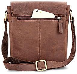 LEABAGS Weston genuine buffalo leather messenger bag in vintage style - Nutmeg