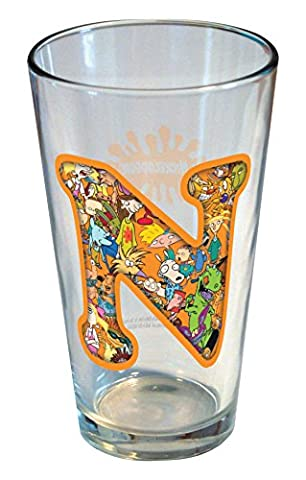 ICUP Nickelodeon - Nick 90s Monogram 16oz Clear Glass Featuring The Letter N - Monogram Pint Glass