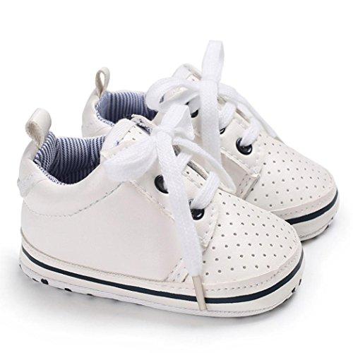 Hunpta Kleinkind Baby Bindung Weiche Schuhe Krippe FootwearBaby Jungen Mädchen beiläufige Schuhe Weiß