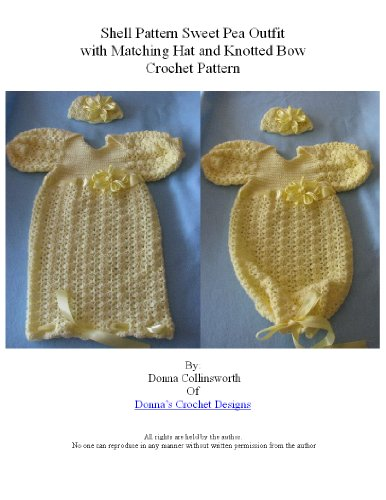 Yellow Shells Sweet Pea Outfit w Matching Hat & Knotted Ribbon Bow Crochet -
