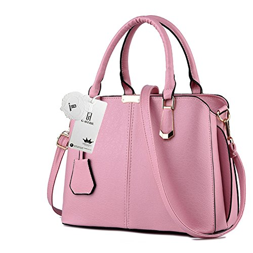 New 2018 10 AVERIL Women Top G Handle Handbag Leather Colour Shoulder Pink Look Fashion EqPwwxd5