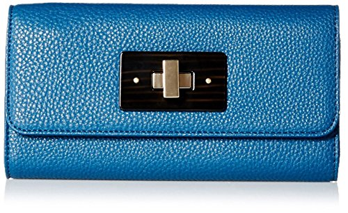 SOCIETY NEW YORK Women's Twist Clasp Wallet, Teal (Blue Clasp)