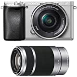Sony Alpha a6300 Silver Mirrorless Digital Camera Lens Bundle (2 Lens Kit)