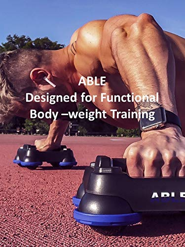 Fitness Hardware ABLE Rotating Push Up Stands, Chest Workout System, Ab Roller, Total Home Gym Body Weight Training System, Balance Platform, Ab, Core, Chest and Leg Workout Training Device.