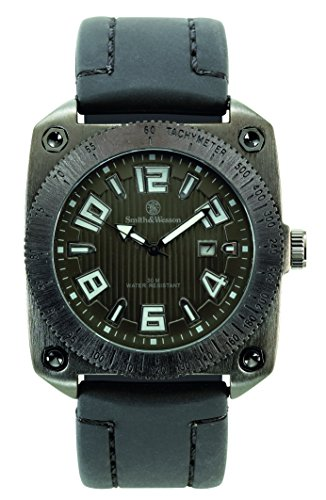 Smith & Wesson Men's SWW-5900-BLK Flight Deck Black Rubber Strap Watch