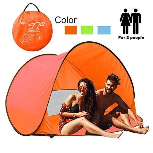 RIJER Instant Sun Shade Tent POP UP Family UV Play Beach Tent Cabana Anti UV Portable Automatic Kids Playing Sun Shelter for Camping Fishing Hiking (Orange)