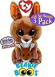 TY Beanie Boos George (Black Gorilla), Coconut (Monkey) & Kipper (Kangaroo) Gift Set Bundle with Bonus