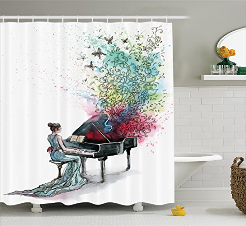 Ambesonne Music Decor Collection Grand Piano Shower Curtain Set with Hooks