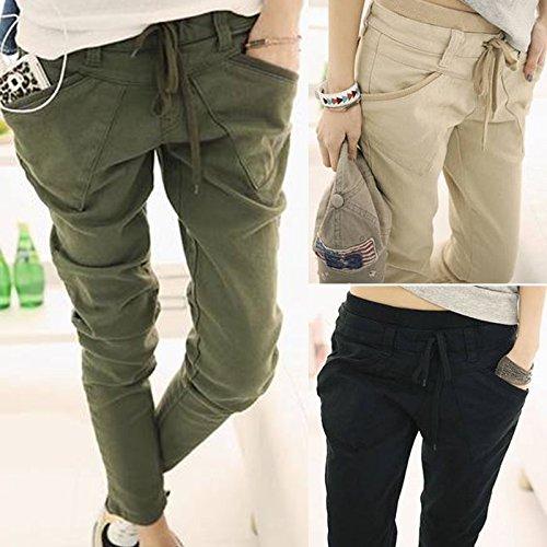 Women Stretchable Waist Belt Pants Amry Green - 1