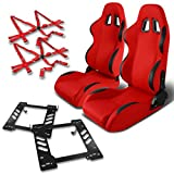 Jeep Wrangler TJ Pair of Black Trim PVC Racing Seats (Red)+Seat Bracket+6-Point Camlock Red Belt