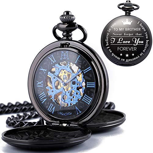 ManChDa Skeleton Automatic Mechanical Engraved Pocket Watches Double Cover with Box and 2 Chains for Mens Women Personalized Gift for Brother Friends Bestman Groomsman