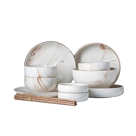 TLTLCJTZ Juego De Platos, Creativa Combinación Japonesa De Cubiertos Hogar Comer Tazón Mármol Personalidad Cuenco