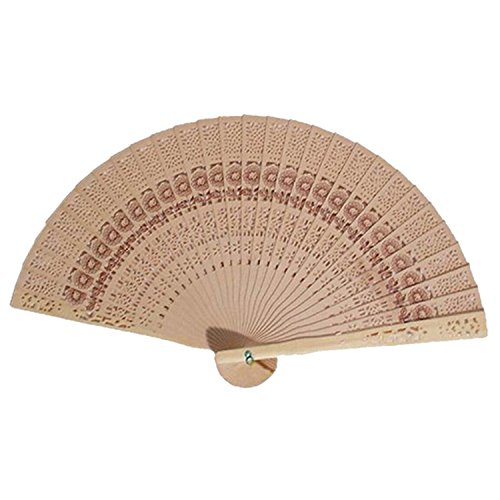 Price comparison product image Reinhar 20cm Fragrant Home Decoration Crafts Bamboo Wooden Fan Summer Accesory Art Folding Carved Hand Fan