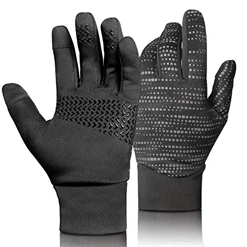 Touch Screen Cycling Gloves Black Bicycle Gloves Anti Slip Full Finger Riding Sports Bicycling Gloves (Updated-Black, M)