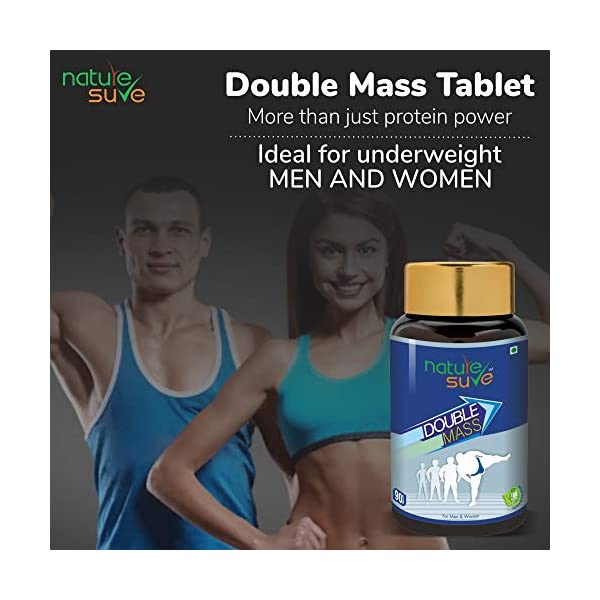 Nature Sure™ Double Mass Tablets for Men and Women – 1 Pack (90 Tablets) 2021 August Unique formula packed with herbal extracts and protein power Helps gain weight quickly, easily and naturally Increases appetite, calorie intake and absorption