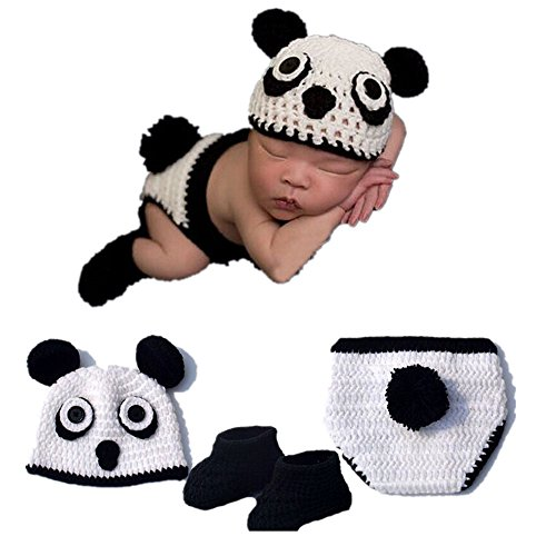 Birdfly Baby Super Adorable Cartoon Panda Hat + Shorts + Shoes 3pcs Set for Photography …