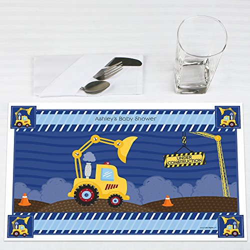 Under Construction Placemat (Custom Construction Truck - Personalized Baby Shower or Birthday Party Placemats - Set of 12)