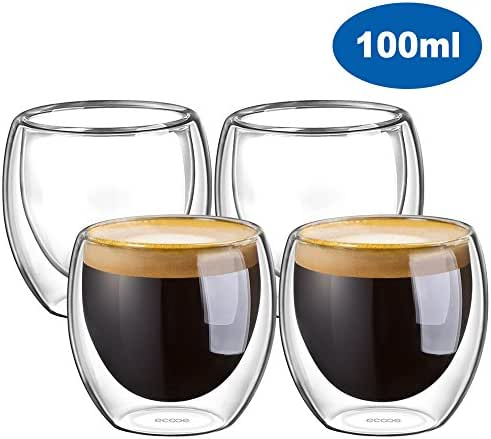 Ecooe Double Wall Glass Espresso Coffee Cups 100 Milliliter Espresso Cup Glasses Set of 4 Demitasse Cups