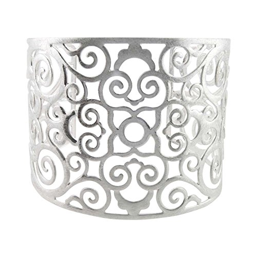 Takobia Women's Scratched Silver Flashed Flower CutWork Cuff Bracelet - 6 1/2 inches (Custom Costume Jewelery)