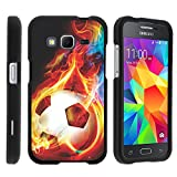 Samsung Galaxy Core Prime, Hard Snap On Protective Cover with Creative Graphic Image for Samsung Galaxy Core Prime G360 (Boost Mobile) from MINITURTLE - Flaming Soccer Ball