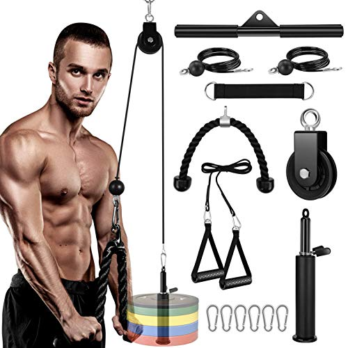 Pulley System Gym, LAT Pulldown Cable Pulley Attachments for Gym, Fitness Lat and Lift Pulley Cable Machine Attachments System for Triceps Pull Down, Biceps Curl, Back, Shoulder, Home Gym Equipment