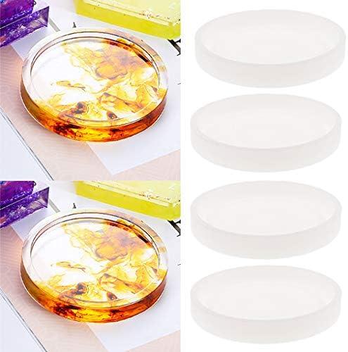 dailymall シリコン樹脂金型4パック樹脂鋳造金型ラウンドコースター金型、DIYコースター用エポキシ樹脂金型、家の装飾、テーブル飾りギフト