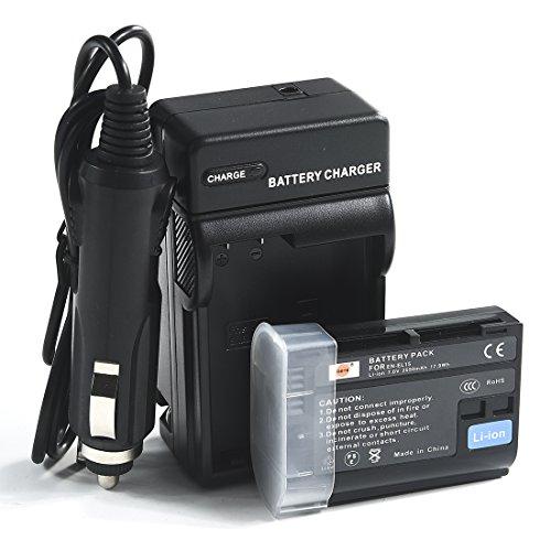 DSTE EN-EL15 Battery + DC113 Travel and Car Charger Adapter for Nikon 1 V1 Z7 D500 D600 D800 D850 D800E D810A D750 D7000 D7100 D610 D7200 Camera