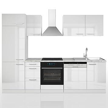 Küche 270 cm Küchenzeile Küchenblock Einbauküche Komplettküche ... | {Küchenzeile weiß hochglanz 61}