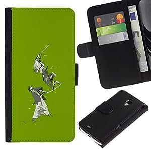 Ihec-Tech / Flip PU Cuero Cover Case para Samsung Galaxy S4 Mini i9190 MINI VERSION! - Green Japanese Samurai Warriors