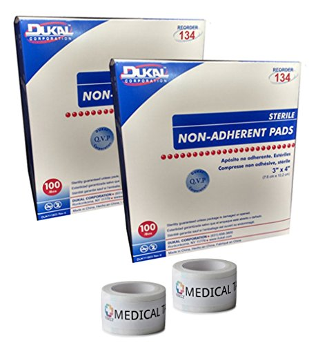Non Adherent Pad - Sterile 3x4 Non-Adherent Pads (2 Packs of 100) + 2 Rolls of Vakly Medical Tape (2)