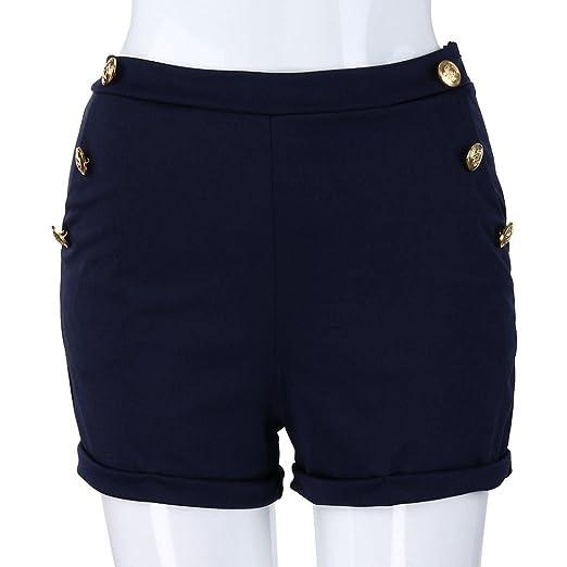c043eba512 Inkach- Women's Casual Elastic Waist Summer Shorts { Zipper Pockets } Short  Pants Walking Shorts