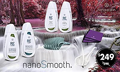 NanoSmooth-keratin smoothing treatment perfect Kit for virgin/Colored/Blonde hair, Do It Yourself. Will give you real Reconstruction & amazing results,contains 9 items for 4 smoothing & up to 6 months