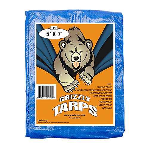 Grizzly Tarps 5 x 7 Feet Blue Multi Purpose Waterproof Poly Tarp Cover 5 Mil Thick 8 x 8 Weave 7' Motor