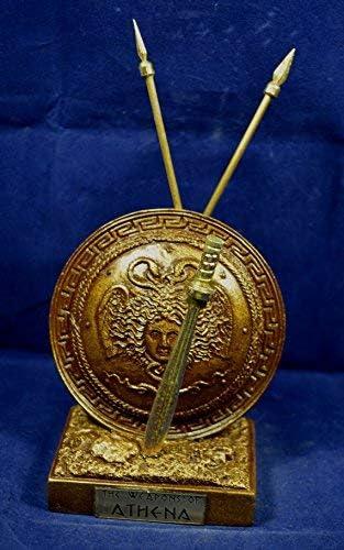 Estia Creations Athena Sculpture Arme alb/âtre avec Ensemble de Medousa Shield avec Effet de loxydation du m/étal