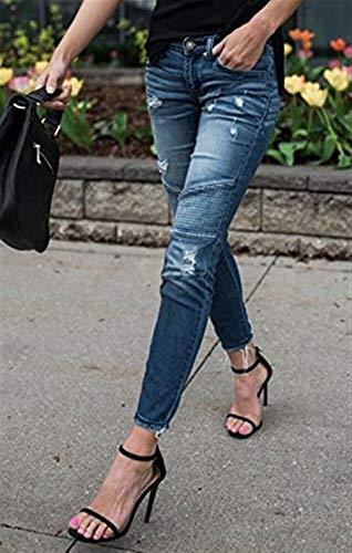 Pieghevole Quilting Hell Blau Denim Donna Al Biker Matita Strappato Giovane Pieghe Stretch In Eleganti Jeans Pantaloni Skinny Ginocchio Strappo Da A 7IqIH