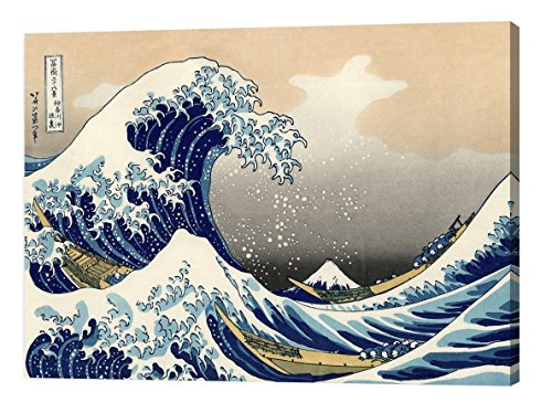 DECORARTS The Great Wave off Kanagawa by Katsushika Hokusai, The World Classic Art Reproductions, Giclee Print and Stretched Canvas, 30'' L x 20
