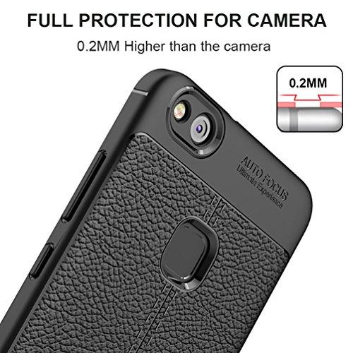 """Huawei P10 Lite (5.2"""") Hülle, MSVII® Anti-Shock Weich TPU Silikon Hülle Schutzhülle Case Und Displayschutzfolie für Huawei P10 Lite (5.2"""") - Schwarz JY90069"""