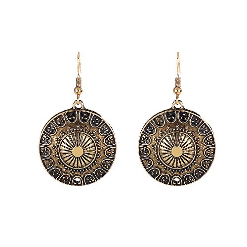 Lureme Ethnic Jewelry Antique Gold Round Shaped Pendant Hook Earrings for Women and Girls (02004293-2)