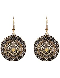 Ethnic Jewelry Antique Round Shaped Pendant Hook Earrings for Women and Girls (02004293-p)