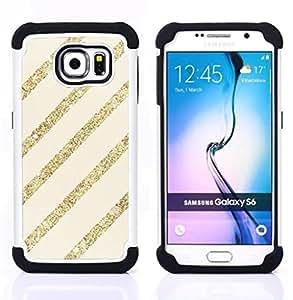 - gold glitter beige lines parallel pattern/ H??brido 3in1 Deluxe Impreso duro Soft Alto Impacto caja de la armadura Defender - SHIMIN CAO - For Samsung Galaxy S6 G9200