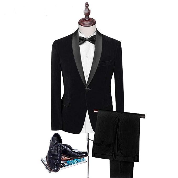 Amazon.com: maxudrs Royal de terciopelo azul esmoquin chal ...