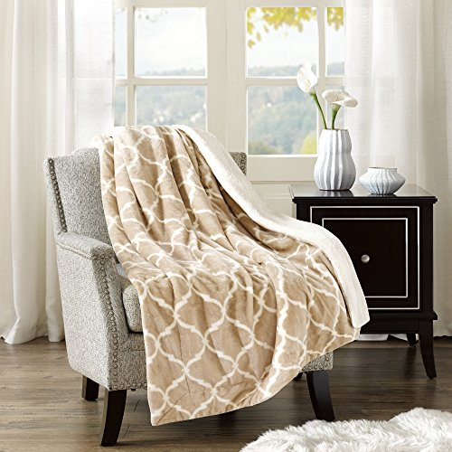 Comfort Spaces - Plush to Sherpa Blanket Throw - 50x60 inches - Ogee - Tan (Throw Plush)