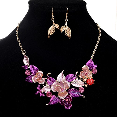 Beaver Costume Accessories (Botrong Best Gifts Women Crystal Necklace Jewelry Statement Pendant Charm Chain Choker with Earrings Sets (Purple))