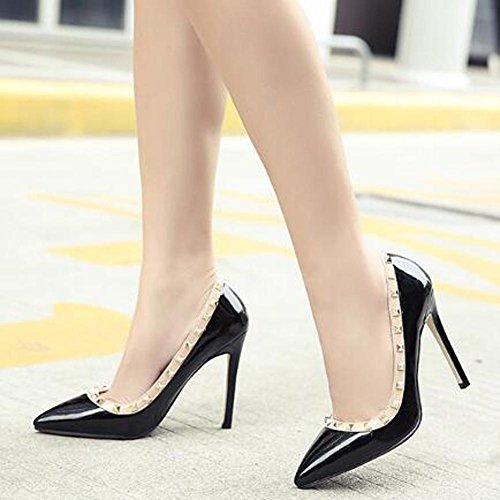 Outdoor L Para Casual Mujer Carrera Tacones Oficina Party Y Leatherette yc Pointed Black Comfort Apricot Altos qrSq8wU